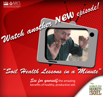 "Watch another New episode of the ""Soil health Lessons in a Minute"""